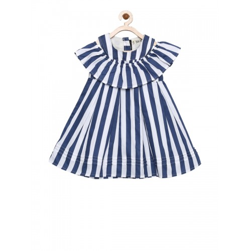 Bella Moda Kids White & Navy Striped Dress