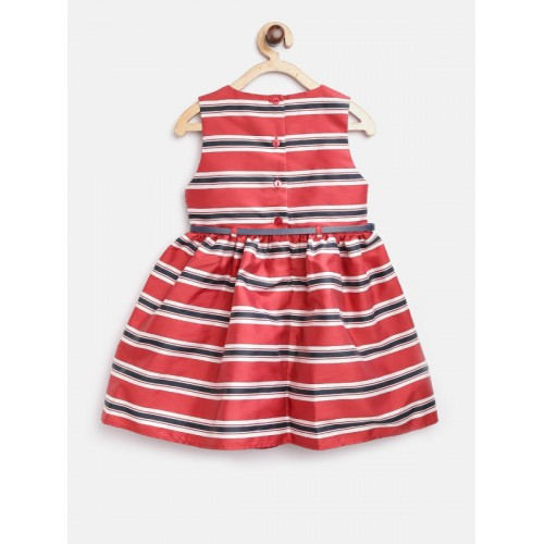 mothercare Girls Red & Navy Blue Striped Fit & Flare Dress