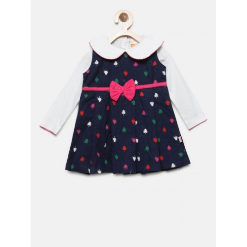 Baby League Girls Navy Blue Printed Corduroy A-Line Dress with T-shirt