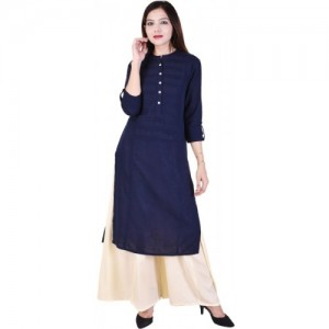 Rangabati Navy Blue Solid Straight Kurti