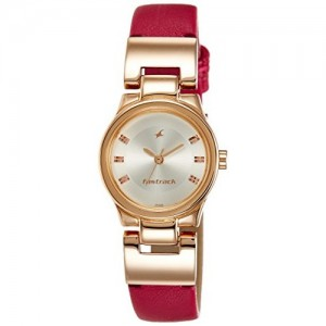 Fastrack Red Leather Women's Analog Watch-6114WL01