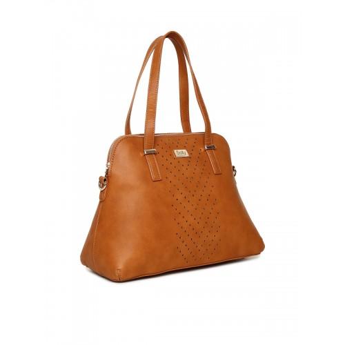 Allen Solly Tan Brown Perforated Shoulder Bag