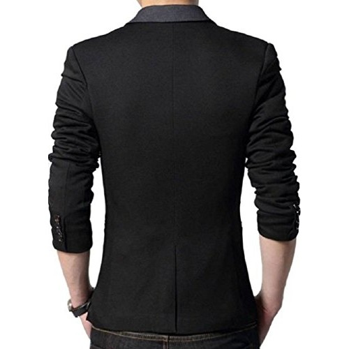 Menjestic Black Slim Fit Designer Blazer With Grey Lapel