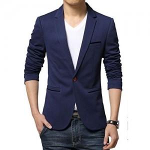 Menjestic Blue Solid Slim Fit Blazer