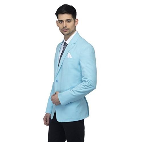 Favoroski Sky Blue Cotton Blend Blazer