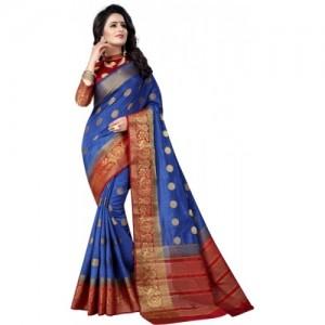 Saarah Blue & Maroon Kanjivaram Art Silk Saree
