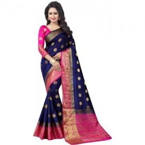 Saarah Pink & Navy Blue Self Design Kanjivaram Art Silk Saree