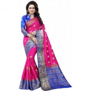 Saarah Self Design Pink Kanjivaram Art Silk Saree