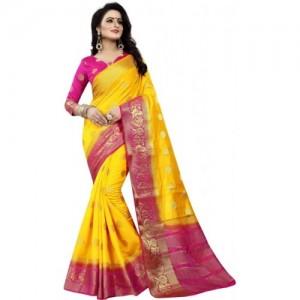 Saarah Yellow Kanjivaram Art Silk Self Design Saree