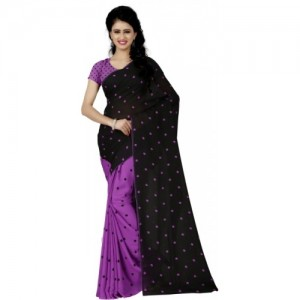 Anand Sarees Purple & Black Faux Georgette Printed Daily Wear Saree