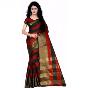 Trendz Style Multi Color Striped Fashion Tussar Silk Saree