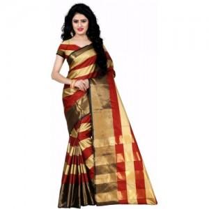 Trendz Style Brown Tussar Silk Striped Fashion Saree