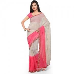 Anand Sarees Pink Georgette Printed Daily Wear Saree