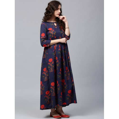 AKS Navy Blue & Orange Cotton Printed Anarkali Kurta