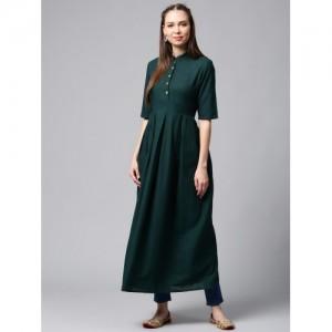 AKS Green Solid Anarkali Cotton Kurta