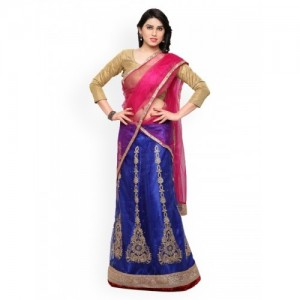 Rajesh Silk Mills Blue & Pink Embroidered Net Semi-Stitched Lehenga Choli with Dupatta
