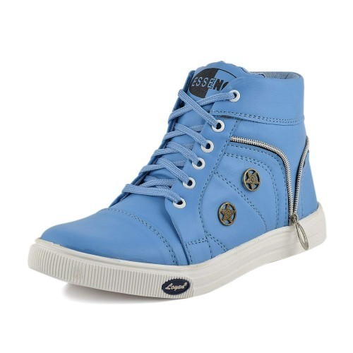 Essence Sky Blue Synthetic Lace Up High Ankle Sneakers