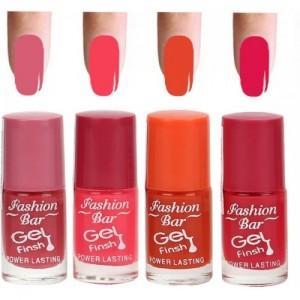 Fashion Bar Peach Parple Nail Polish Combo Multicolor,