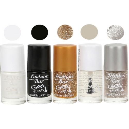 Fashion Bar Gel Finish Exclusive Nail Polish Combo Set White, Black, Gold, Clear, Grey