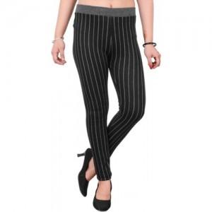 Blinkin Striped Women Black Tights