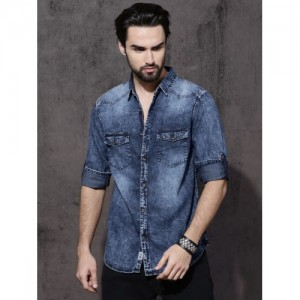 Roadster Blue Slim Fit Faded Casual Denim Shirt