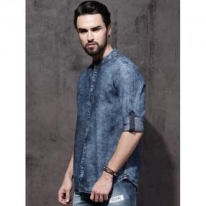 Roadster Blue Regular Fit Faded Denim Casual Shirt
