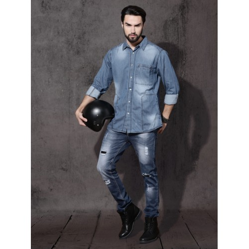 Roadster Blue Regular Fit Faded Casual Shirt