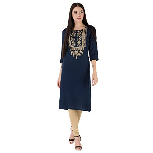 M&D Navy Blue Cotton Embroidered Straight Kurta