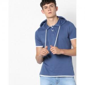 AJIO Hooded Henley T-Shirt