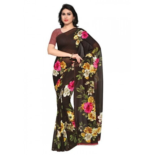 Anand Sarees Faux Georgette Brown printed Sarees With Blouse Piece( 1052_2 )