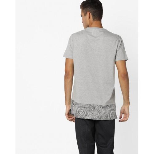 AJIO Printed Cut & Sew Longline T-shirt
