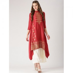Libas Red Printed Trail Cut Kurta