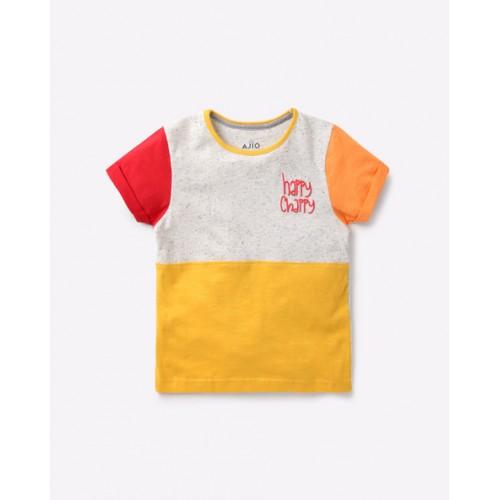AJIO Multicolor Cotton Colourblock Crew-Neck T-shirt