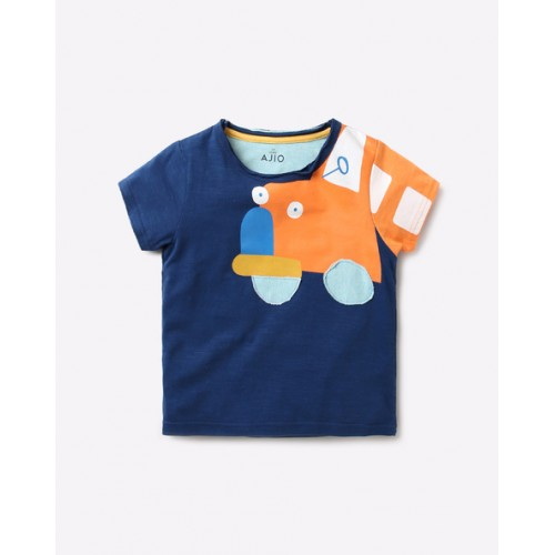 AJIO Blue Graphic Print Crew-Neck T-shirt with Applique
