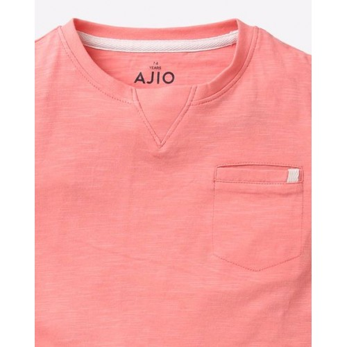 AJIO Pink Cotton Crew-Neck T-shirt with Step Hems