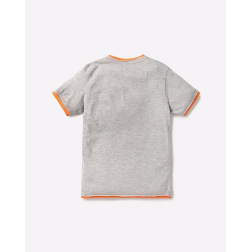 POINT COVE Gray Embossed Print Crew-Neck T-shirt