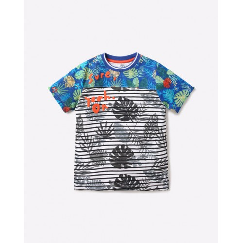 KB TEAM SPIRIT Multicolor Cotton Leaf Print T-shirt