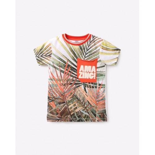 KB TEAM SPIRIT Multi Color Tropical Print Crew-Neck T-shirt
