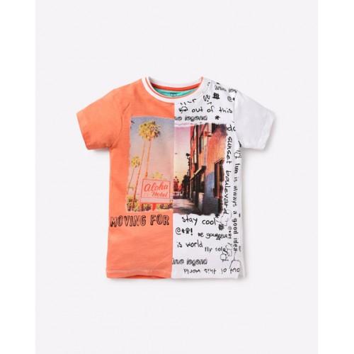 KB TEAM SPIRIT Multi Color Graphic Print Colourblock T-shirt