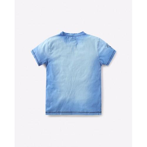 YB DNMX Blue Graphic Print Crew-Neck Slim T-shirt