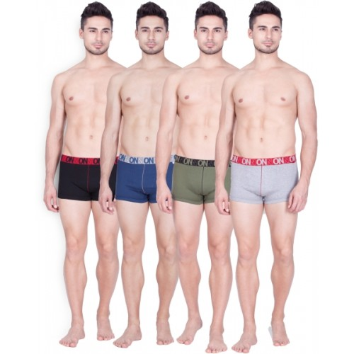 ONN Men's Trunks Cotton Solid Pack of 4