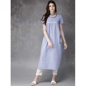 Anouk Blue Checked Pocket Style A-Line Kurta