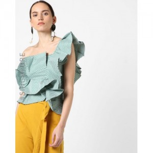 MDS Ruffled Checked One-Shoulder Top