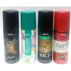Riya Melody , Bindas ,Party Wear and Born Rich Perfume Body Spray  -  For Men & Women