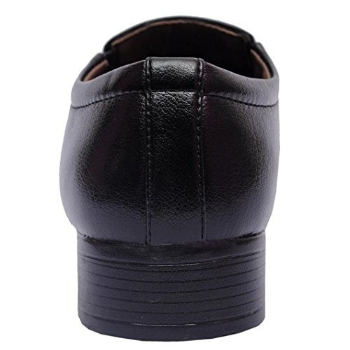 Decent Black Synthetic Leather Slip On Formal Shoes