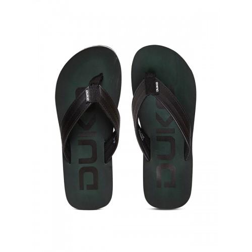 Duke Men Black & Green Printed Flip-Flops