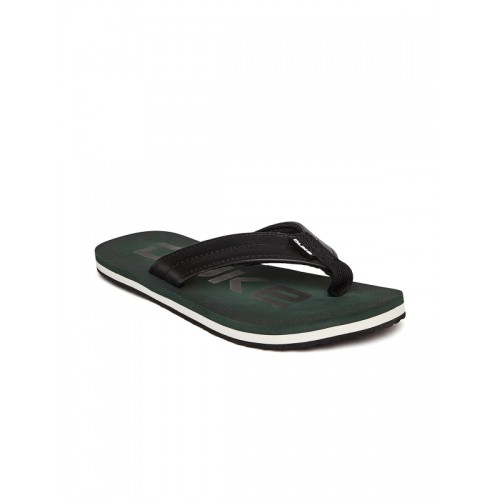 Duke Men Black & Green Printed Flip-Flops