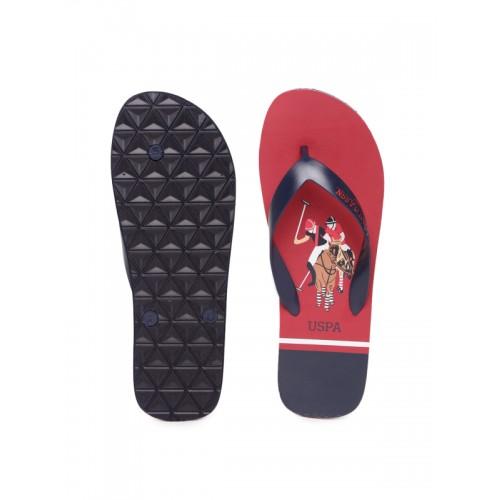 f191afe79b03fd Buy U.S. Polo Assn. Men Navy Blue   Red Printed Thong Flip-Flops ...