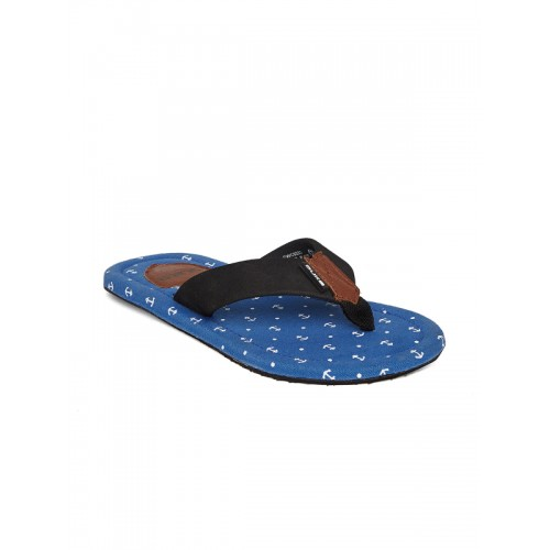 Duke Men Black & Blue Printed Flip-Flops