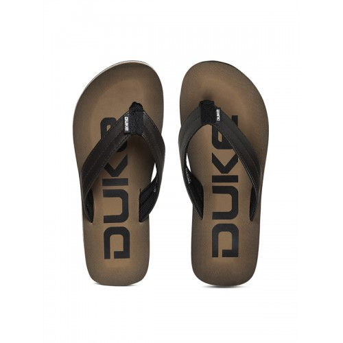 Duke Men Black & Beige Printed Flip-Flops